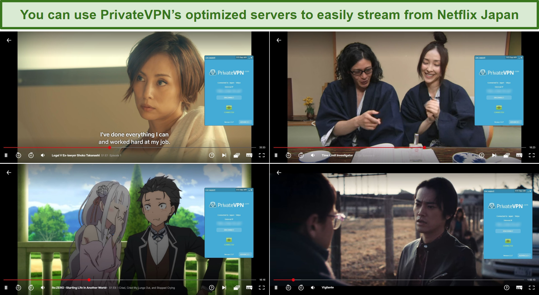 Screenshot of PrivateVPN unblocking Legal V Ex-lawyer Shoko Takanashi, Time Limit Investigator, Re:ZERO - Starting Life in Another World, and Vigilante on Netflix Japan
