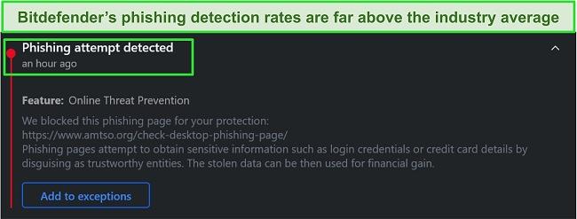 Bitdefender desktop phishing warning.