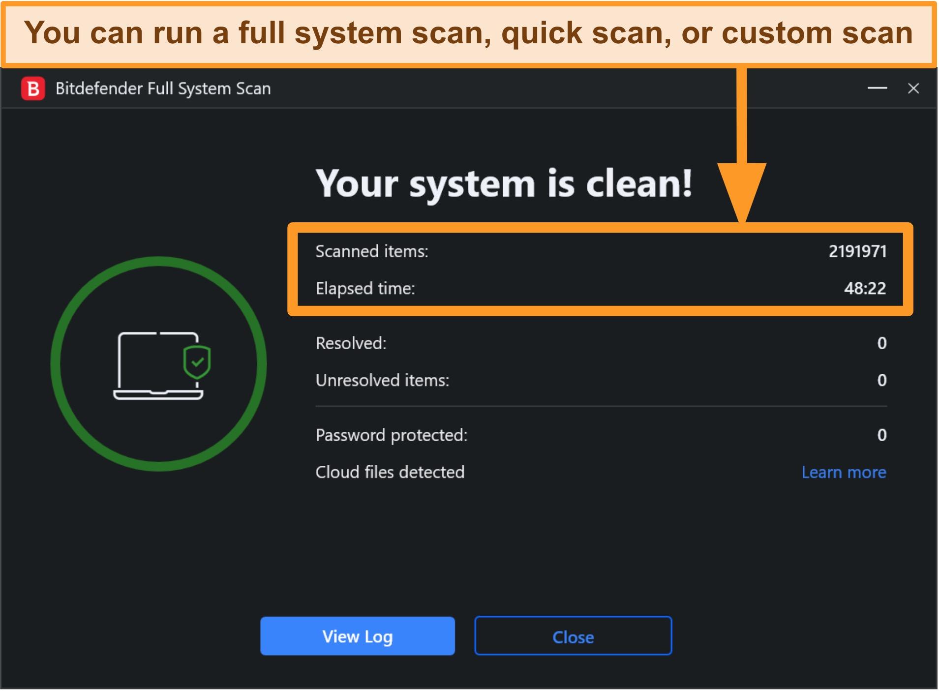 Screenshot of a completed Bitdefender system scan.