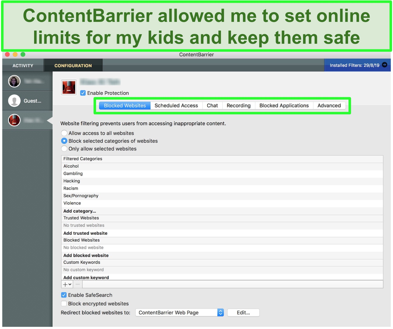 creenshot of ContentBarrier interface showing different parental control settings