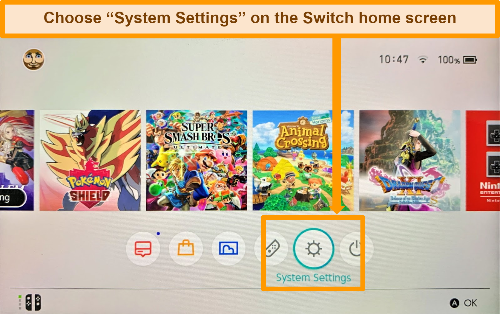 Screenshot of Nintendo Switch home screen with System Settings highlighted