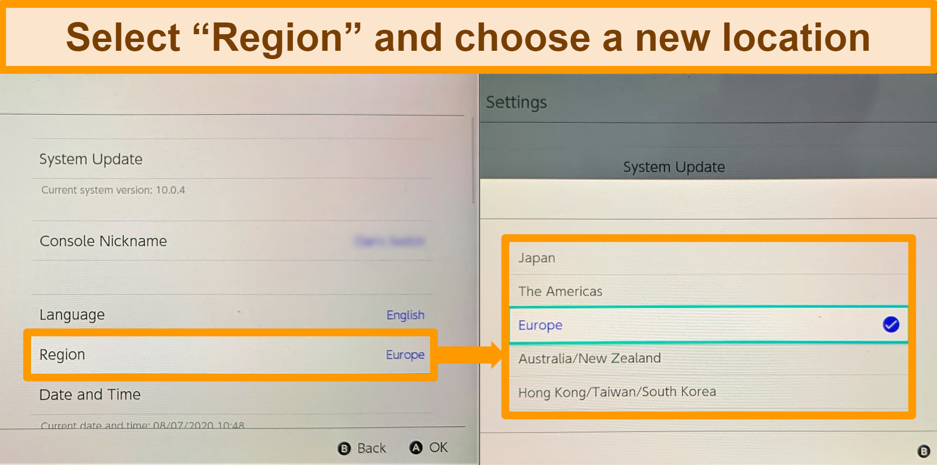 Screenshot of Nintendo Switch Region selection options
