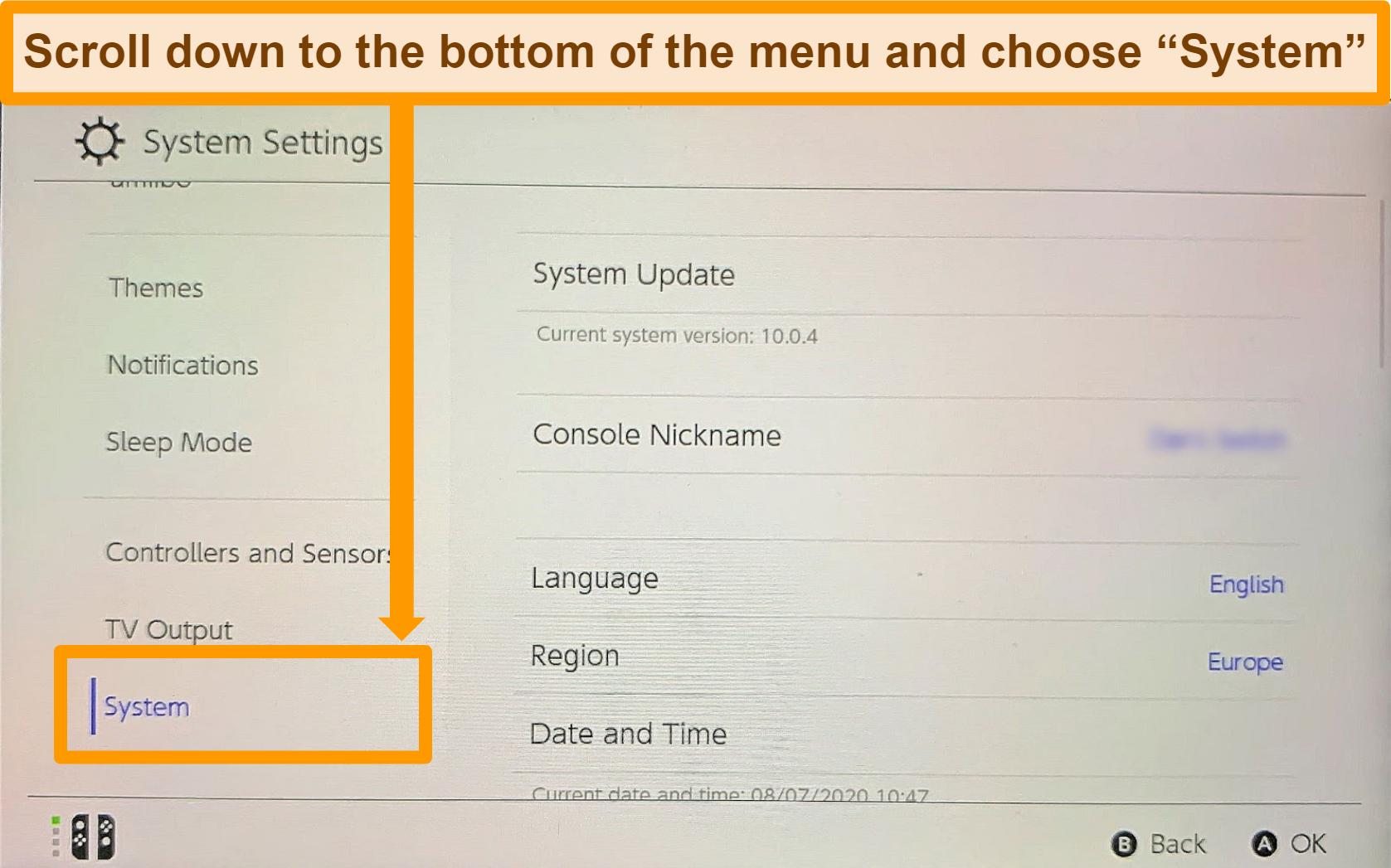 Screenshot of System Settings menu on Nintendo Switch