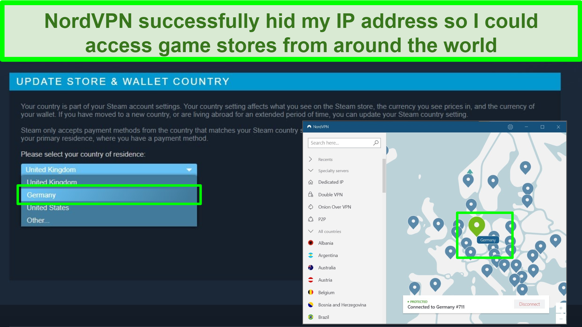 Screenshot of Steam account with Germany location highlighted and NordVPN connected to a German server