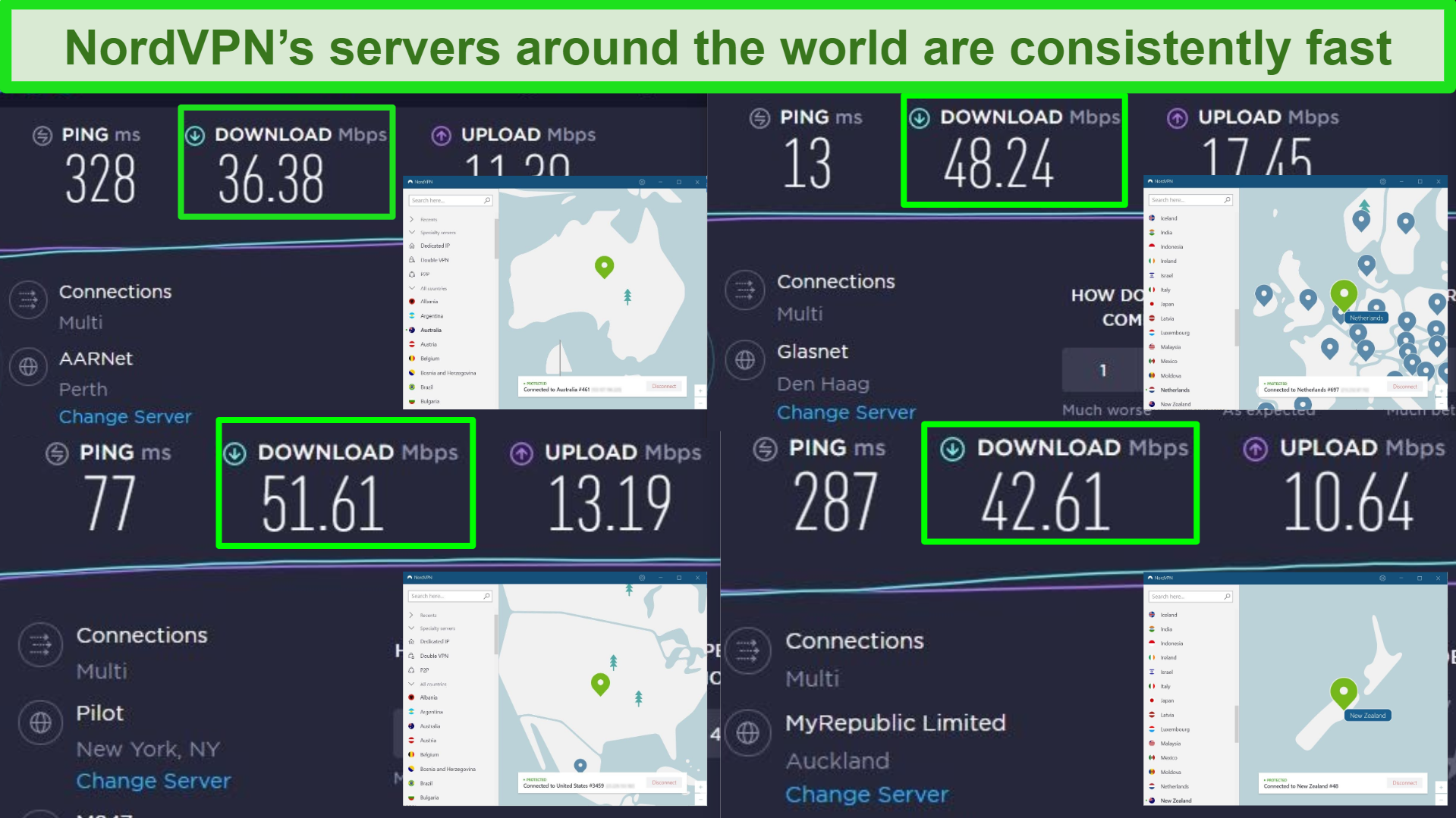 Screenshots of Ookla speed tests with NordVPN connected to different servers