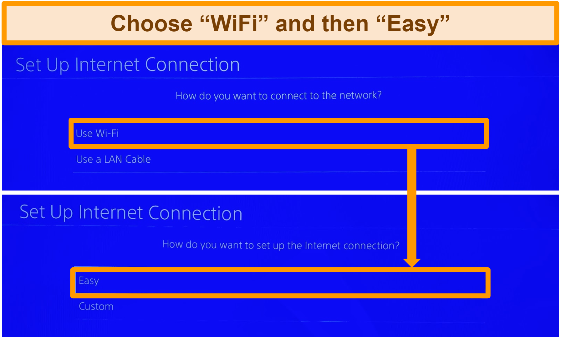 Screenshot showing PlayStation setup options for internet connection