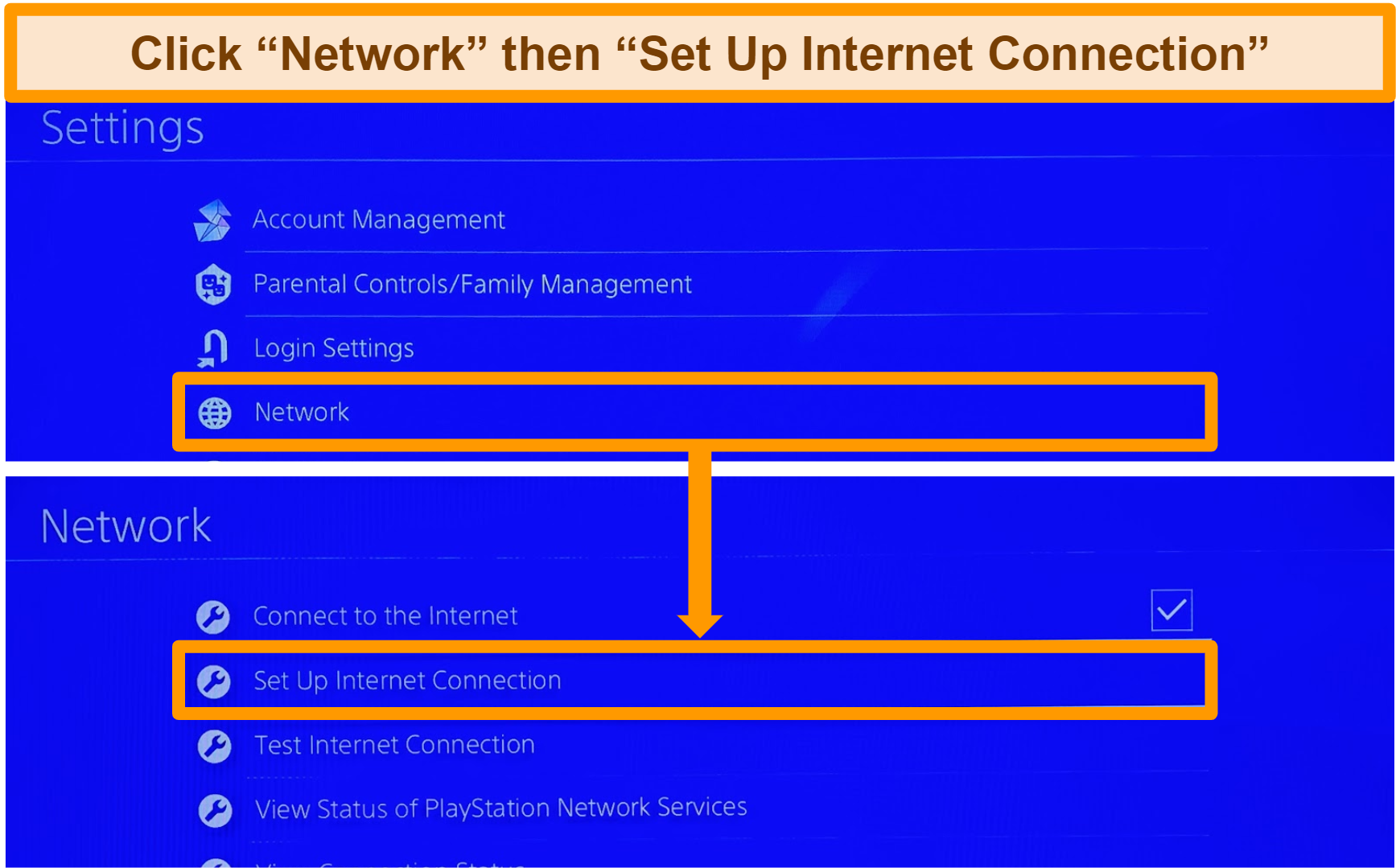 Screenshot of how to navigate to PlayStation internet connection setup