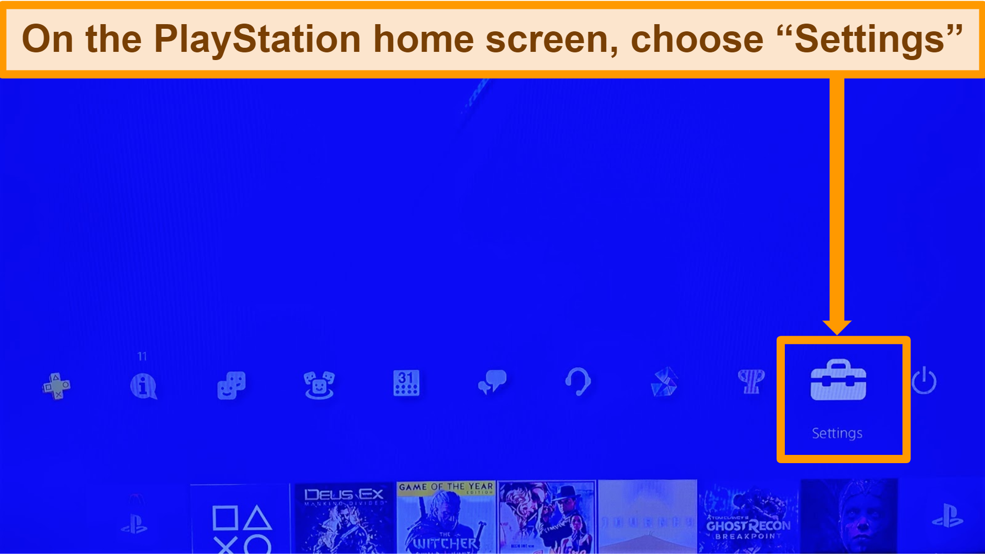 Screenshot of PlayStation home screen with