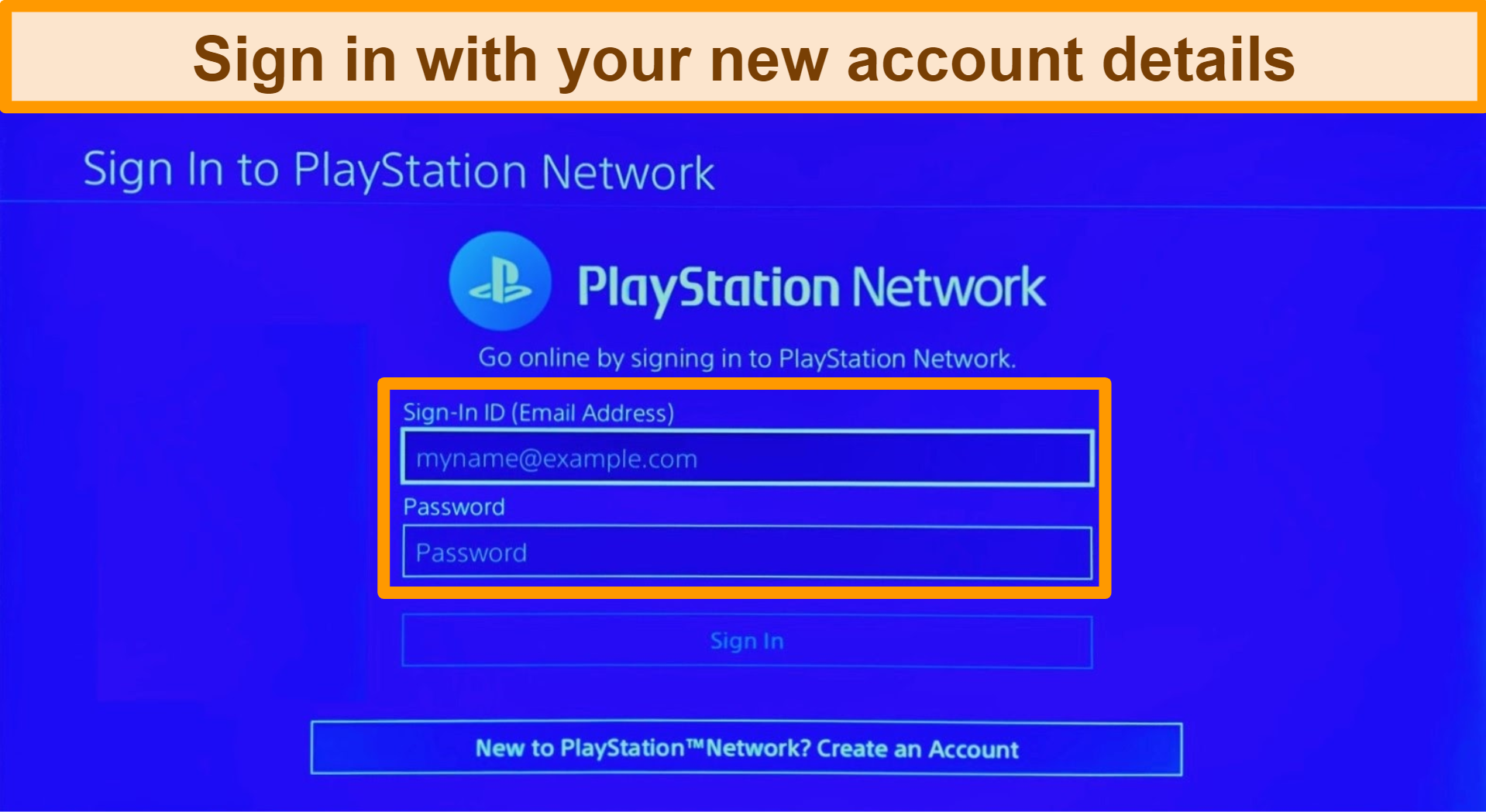 Screenshot of PlayStation Network account sign in screen