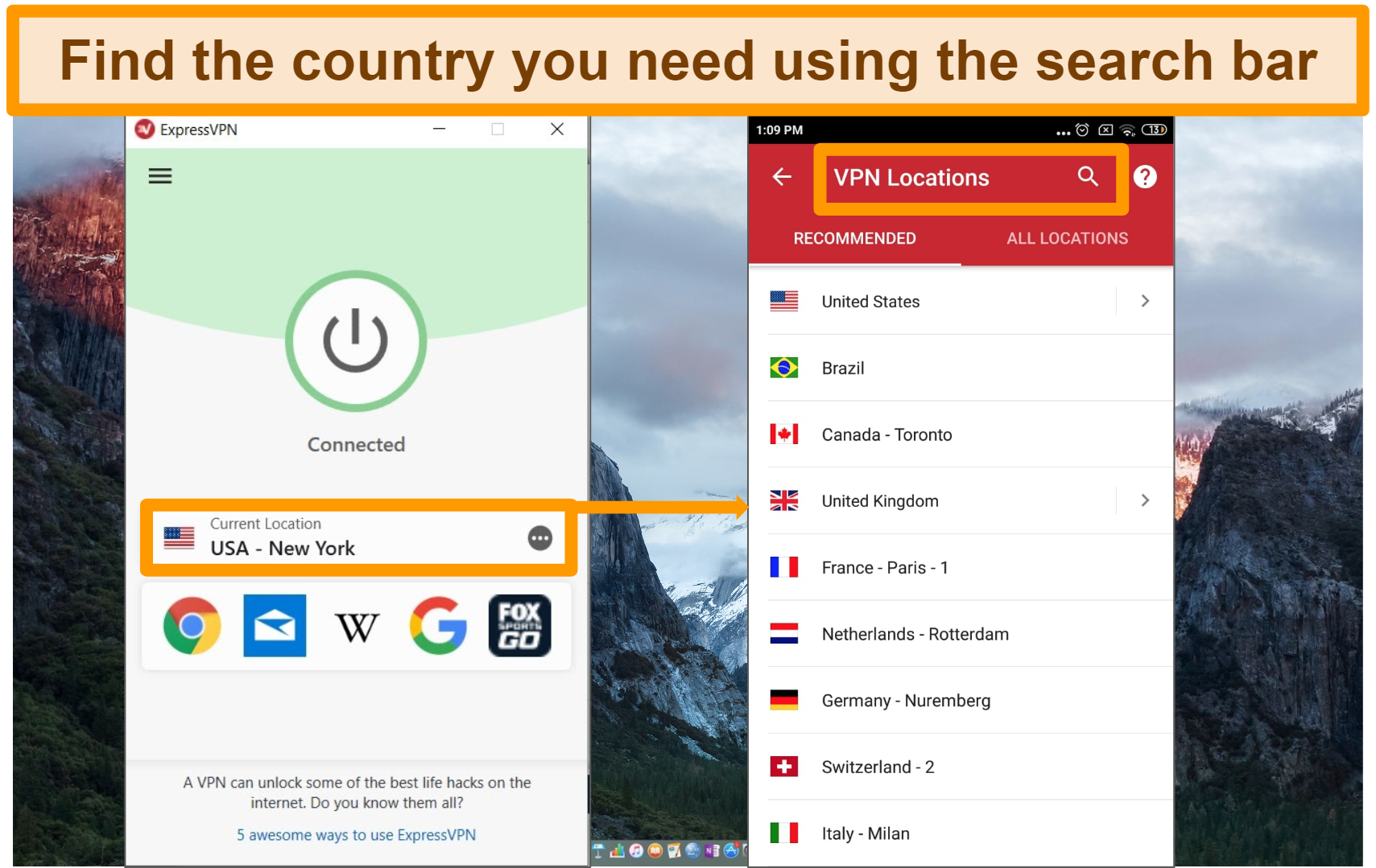 Screenshot of how to select a country on ExpressVPN