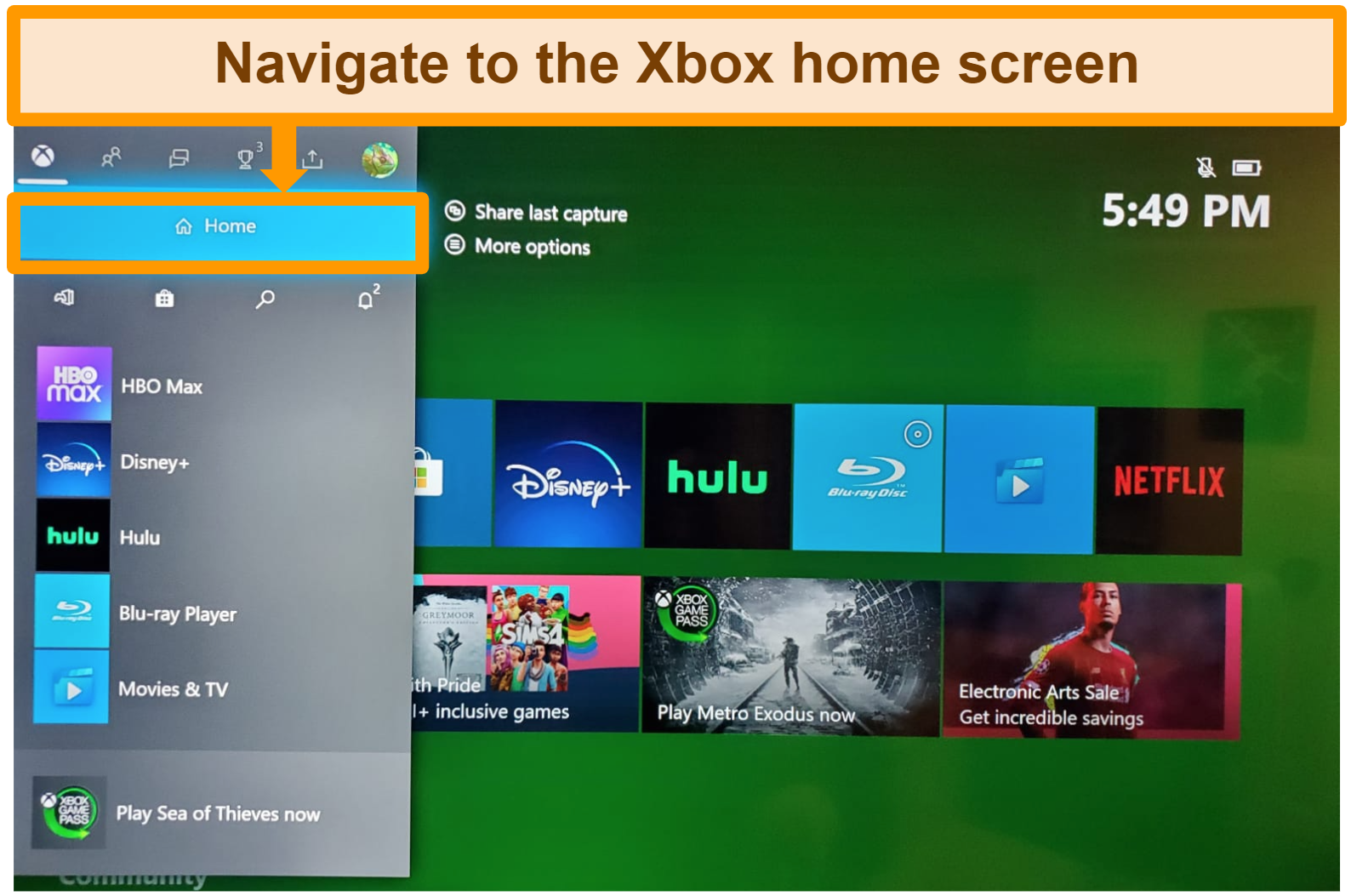Screenshot of accessing xbox home screen