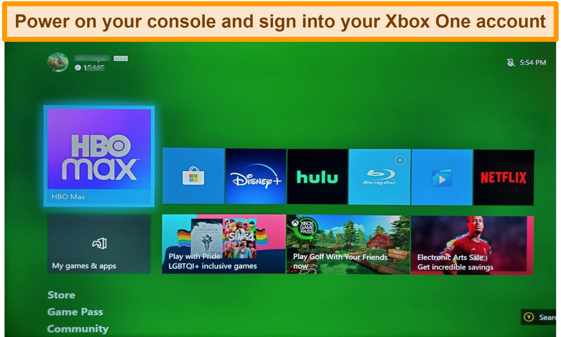 Screenshot of powering on xbox one account