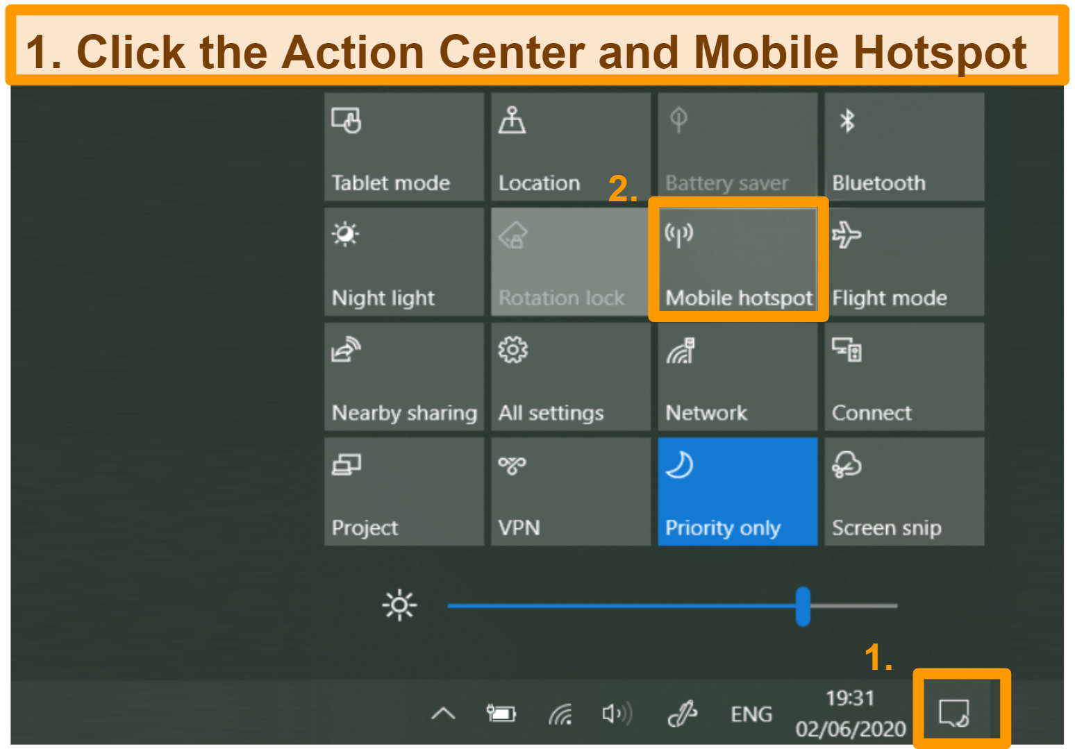 Screenshot of how to set up mobile hotspot on Windows open action center and select mobile hotspot