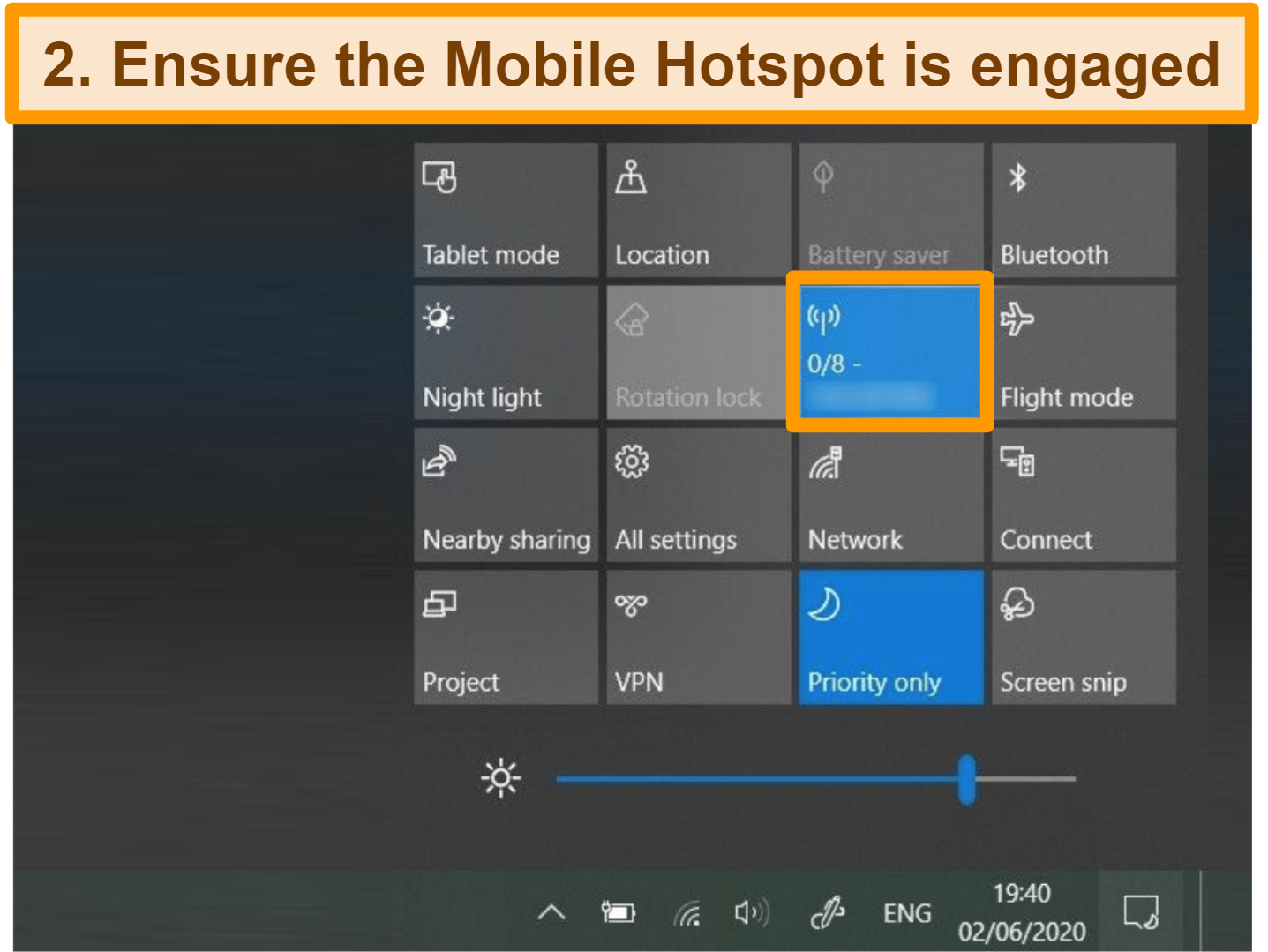 Screenshot of how to set up mobile hotspot on Windows open action center and engage mobile hotspot