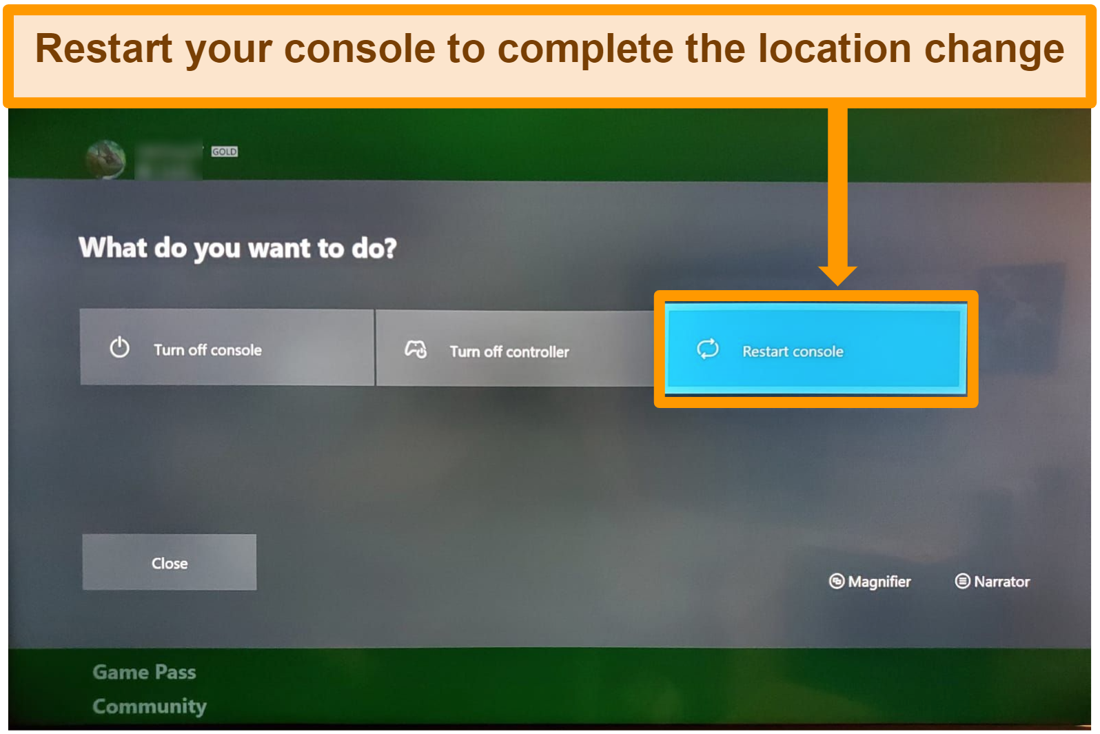 Screenshot of completing xbox location change by restarting