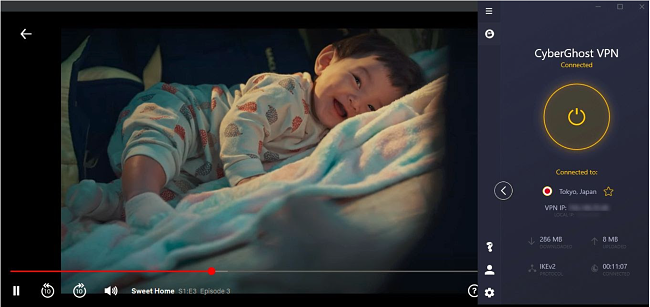 Screenshot of Sweet Home streaming on Netlfix Japan while CyberGhost is connected to a server in Japan