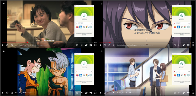 Screenshot of ExpressVPN streaming Terrace House: Tokyo, Ghost in the Shell: Stand Alone Complex, Dragon Ball Z, and Stand My Heroes: Piece of Truth on Netflix Japan