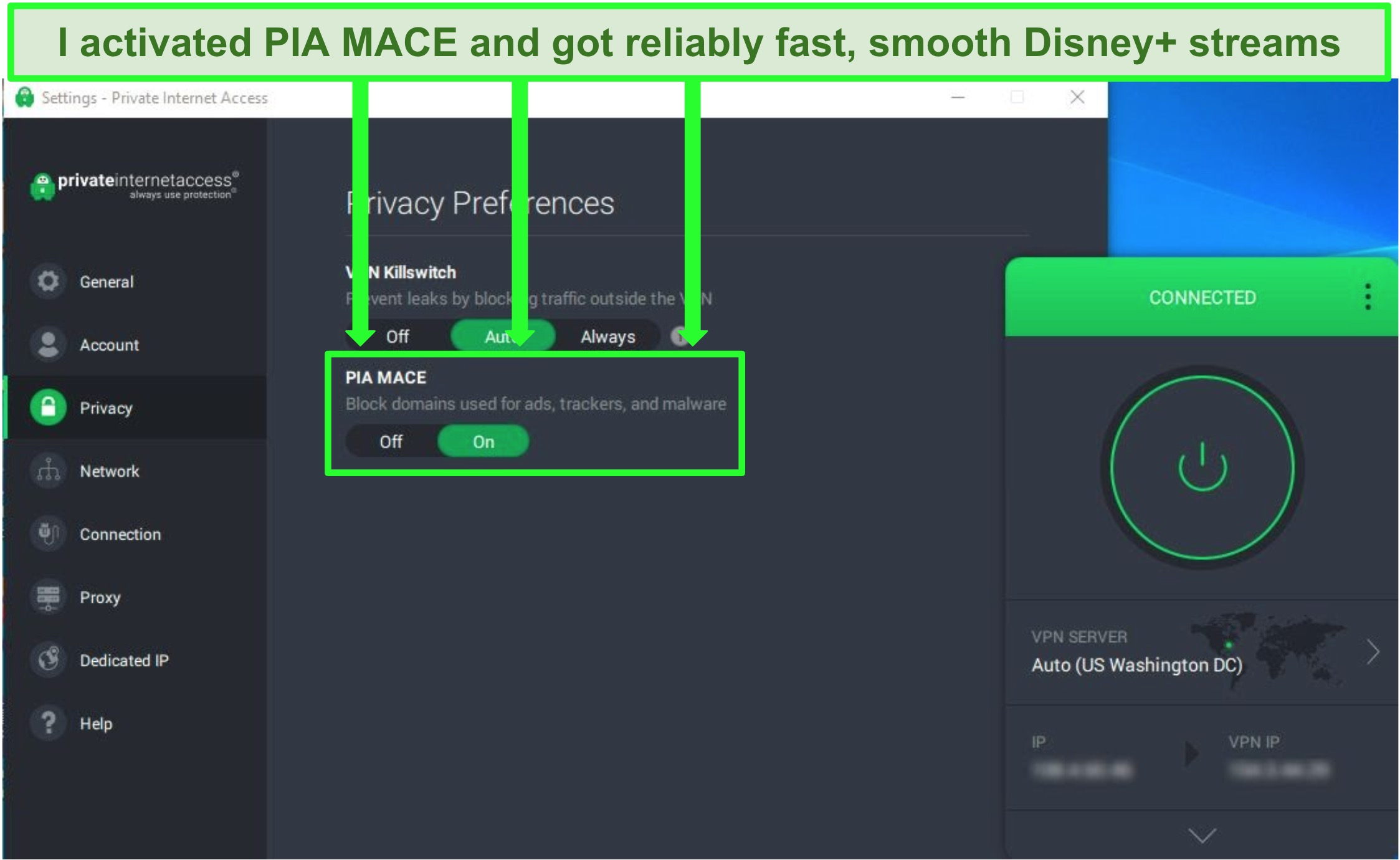 Screenshot of PIA's user interface showing the PIA MACE option enabled