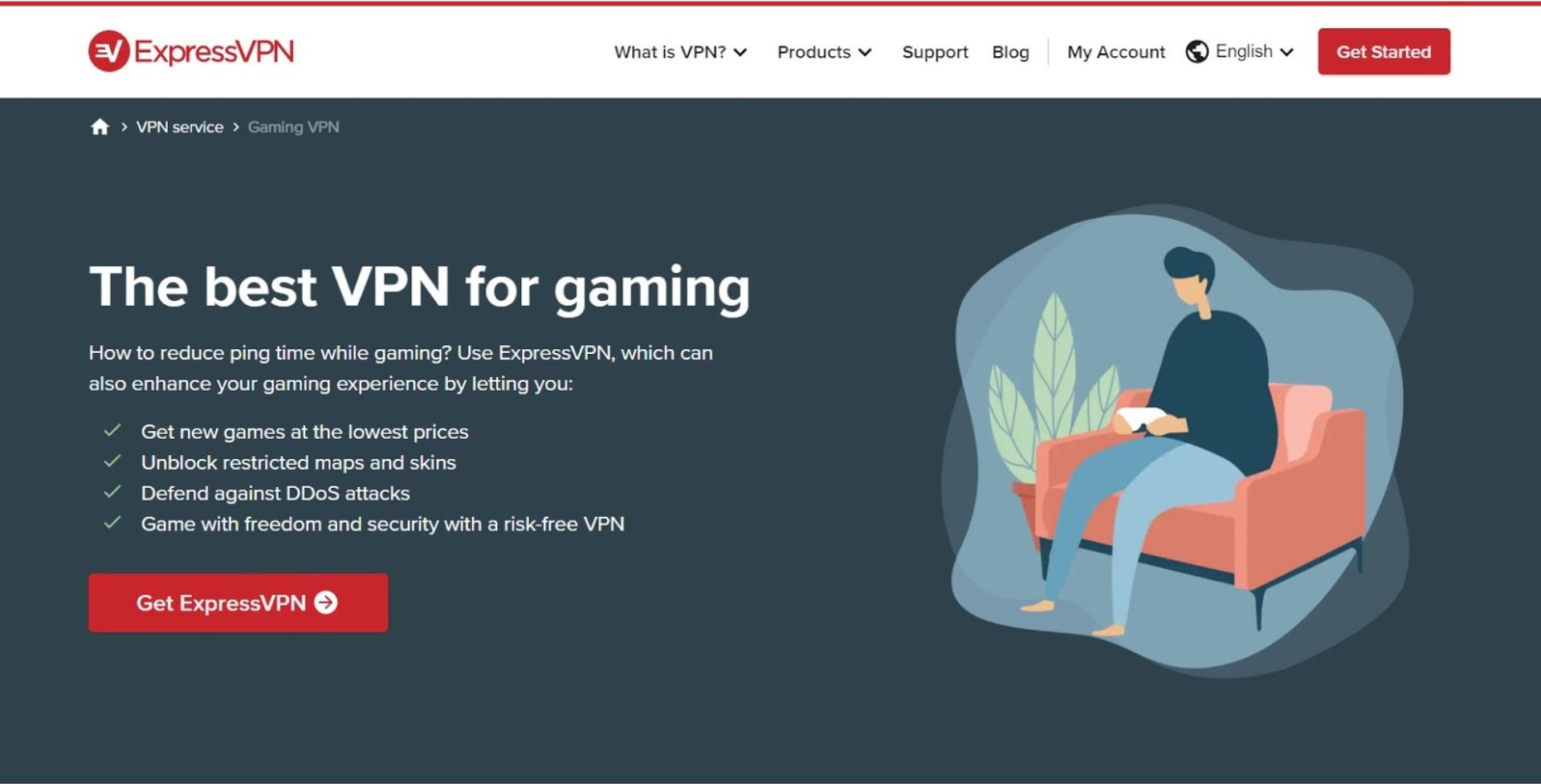 Screenshot of expressvpn landing page for sales for gaming
