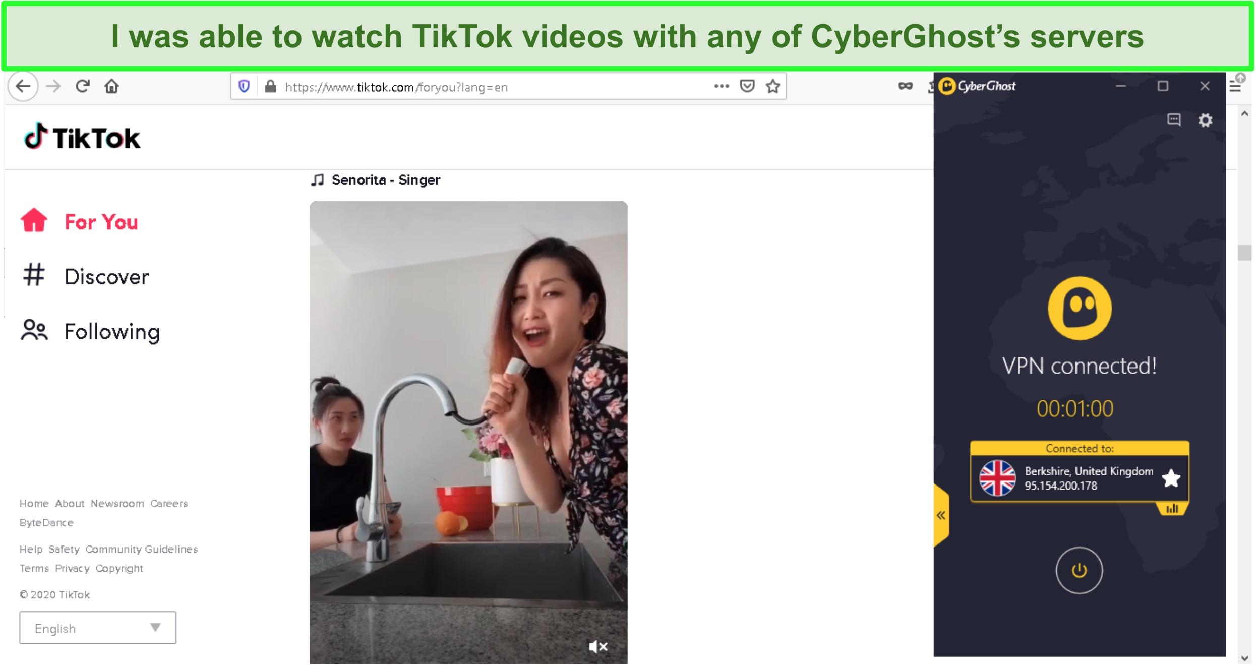 Screenshot of unblocking TikTok videos with CyberGhost
