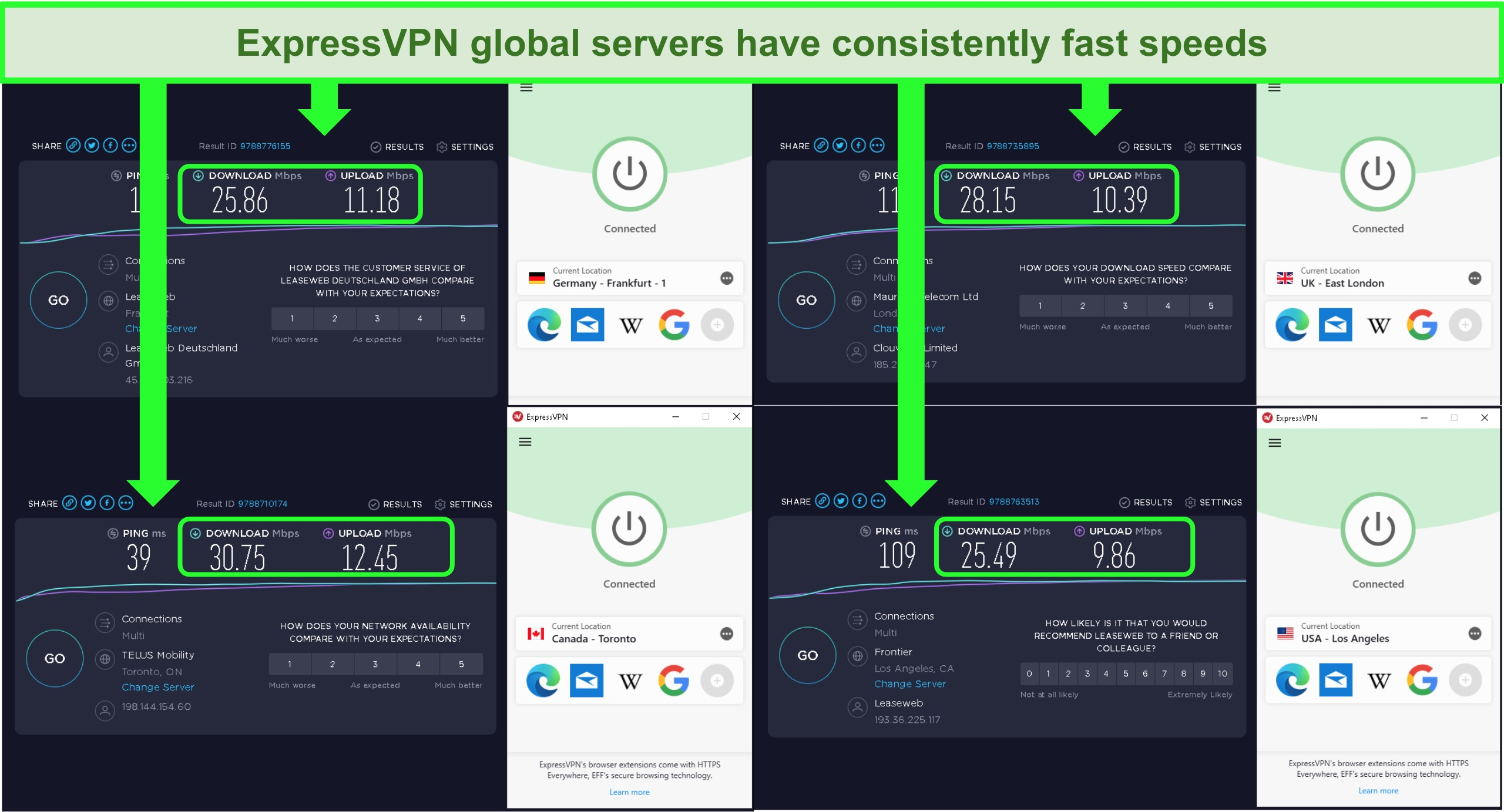 Screenshot of ExpressVPN's global servers' speeds with little difference in download Mbps
