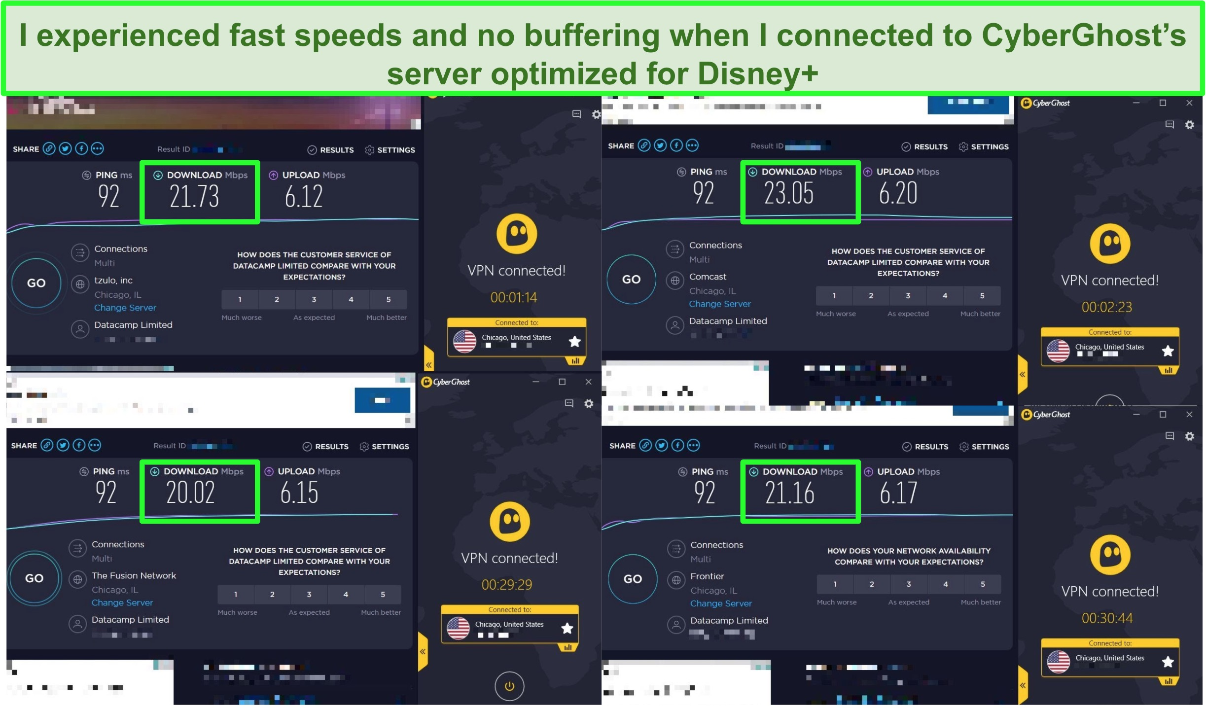 Screenshot of speed tests with fast results while connected to CyberGhost
