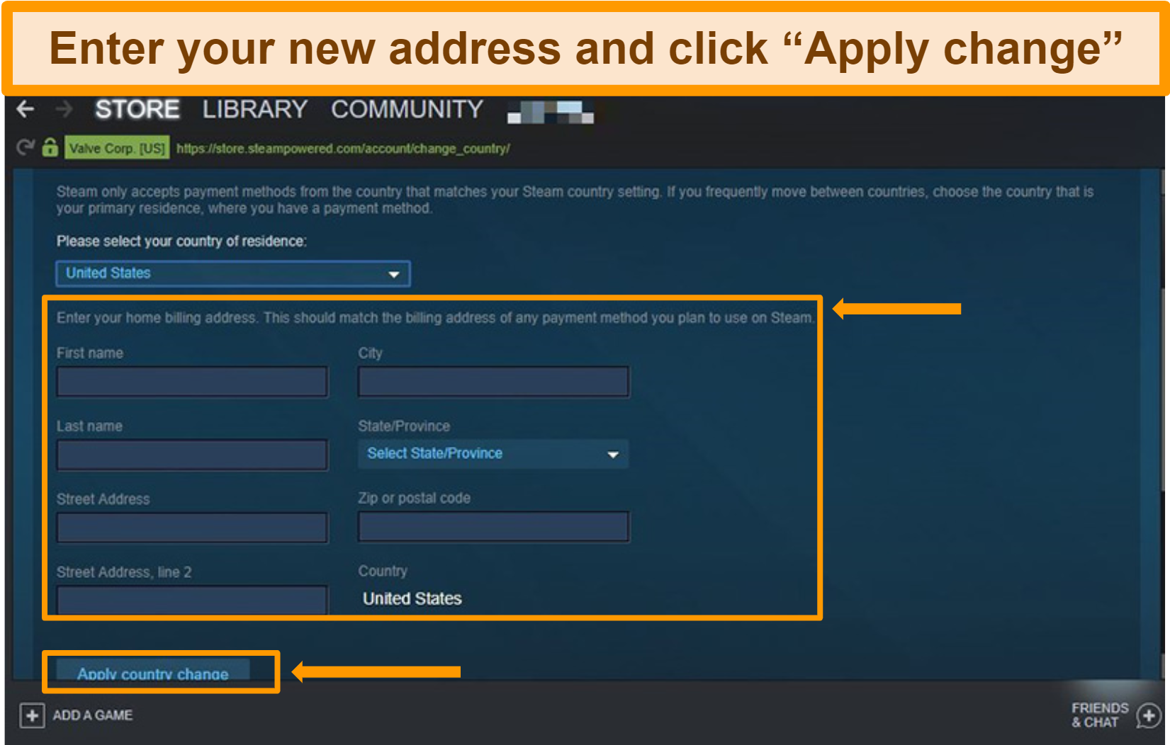 Screenshot of how to change steam account location and enter your new billing address