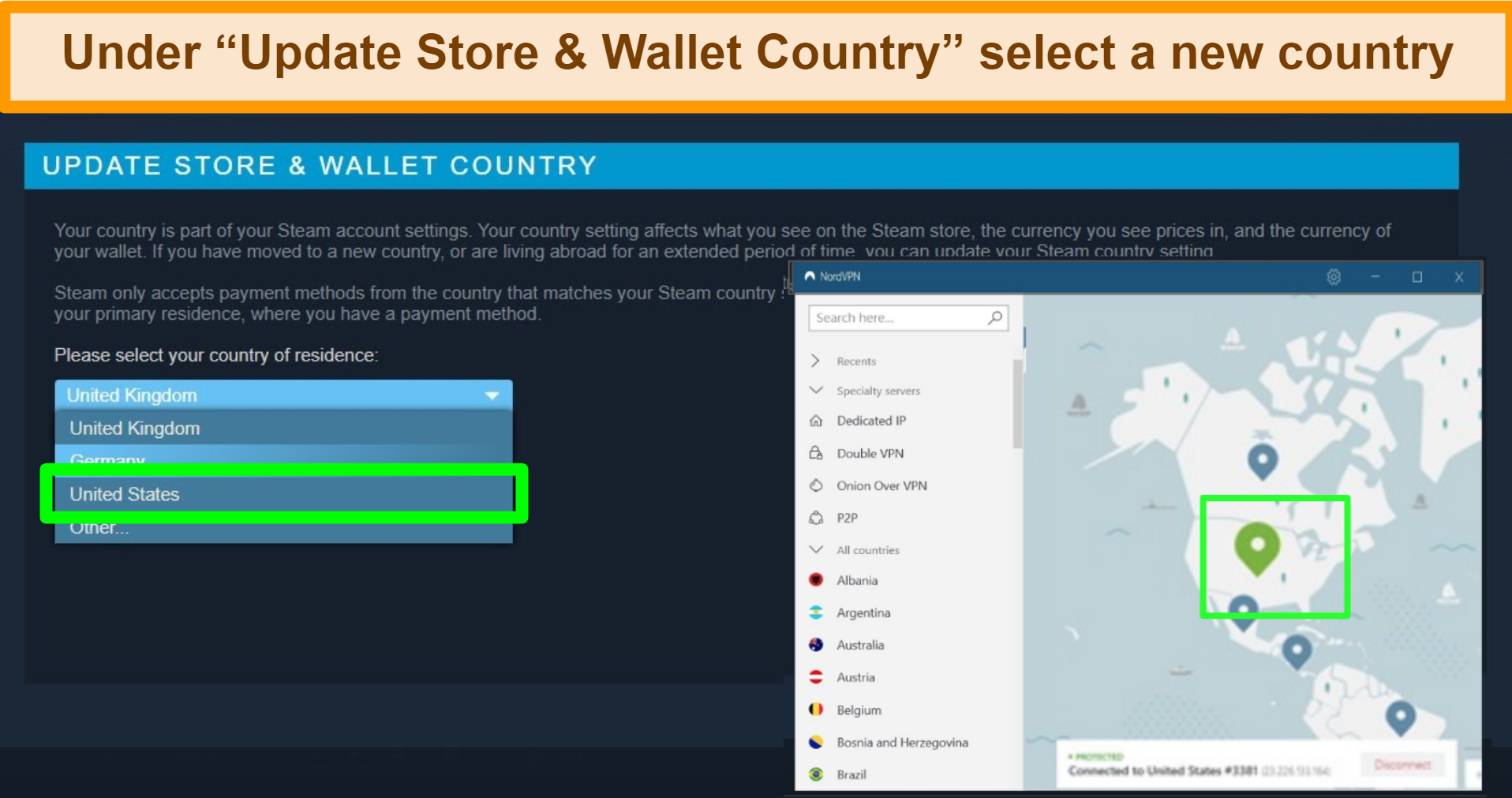 Screenshot of how to update your steam account store and wallet country with NordVPN