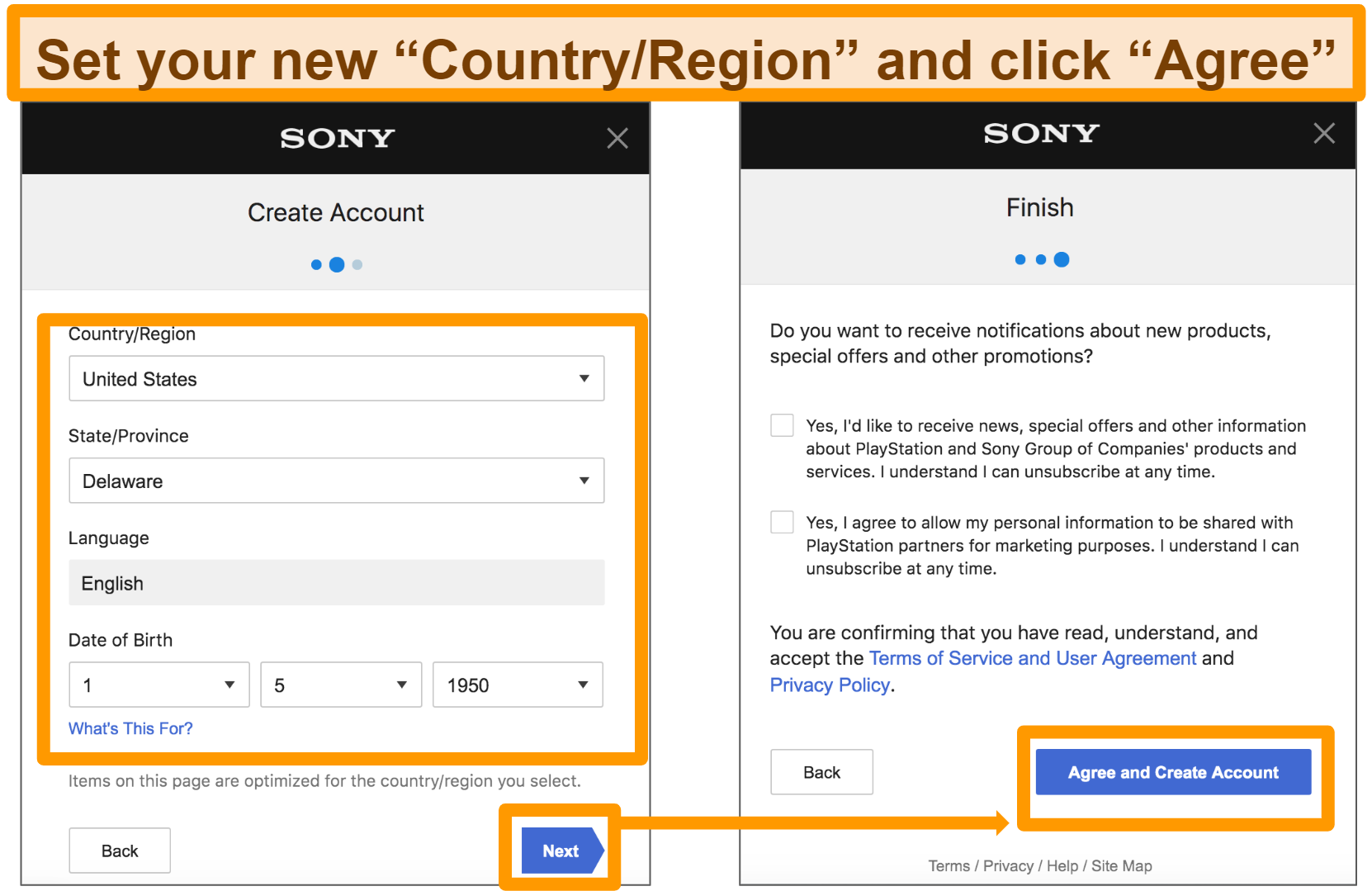 Screenshot of how to set up new Sony Entertainment Network Account add address