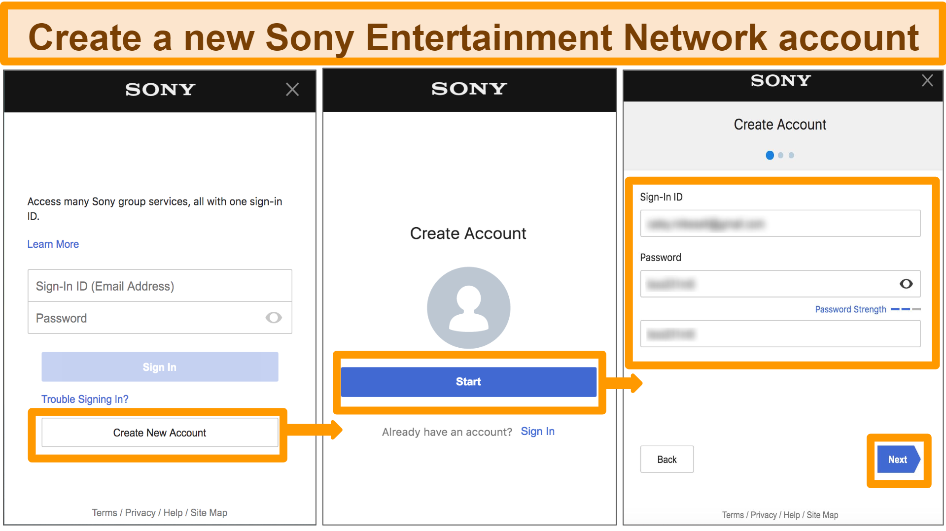 Screenshot of how to create new Sony Entertainment Network Account