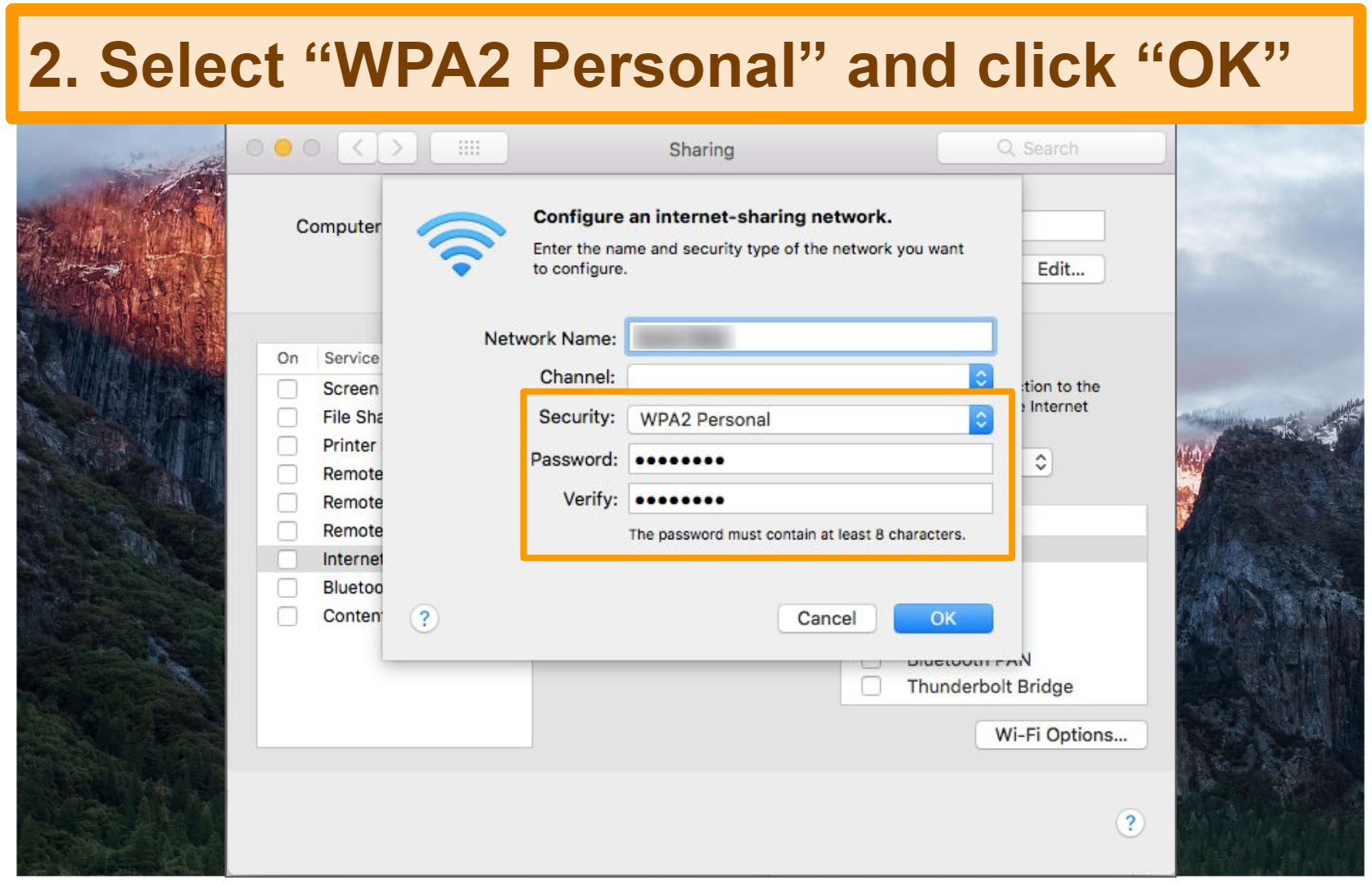 Screenshot of how to set up mobile hotspot on Mac change security settings step 2