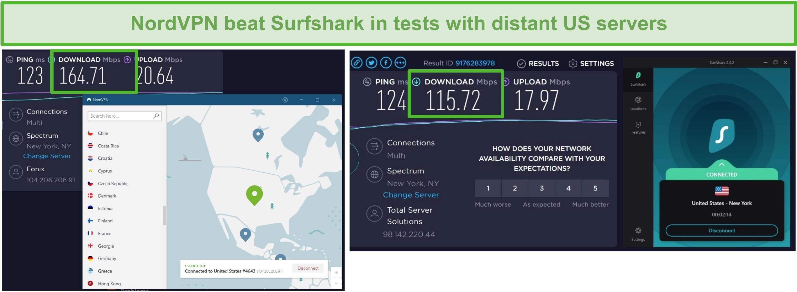 Screenshot of NordVPN and Surfshark running a US speed test.