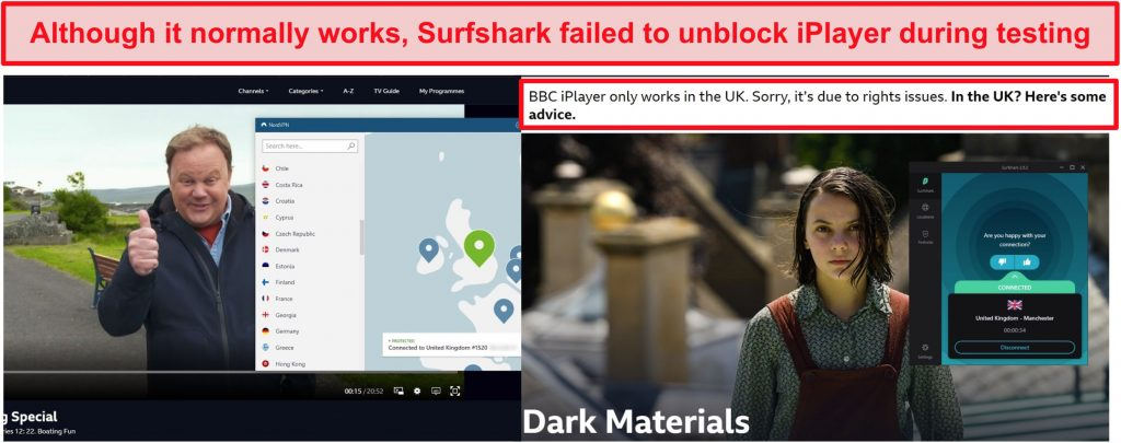 Screenshot of NordVPN successfully unblocking BBC iPlayer and Surfshark failing to do so.