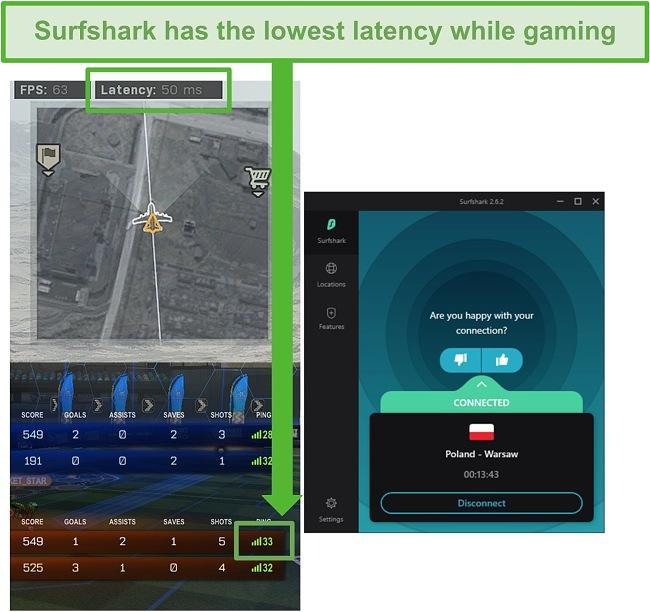 Screenshot of Surfshark latency while gaming