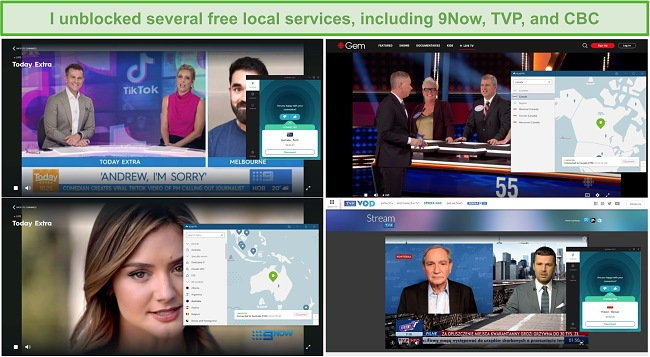 Screenshot of NordVPN and Surfshark unblocking various local TV stations, including 9Now, TVP, and CBC.