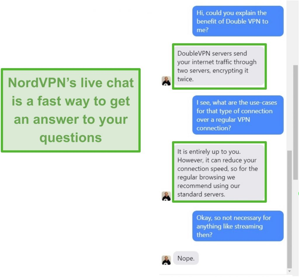 Screenshot of NordVPN live chat assistance.