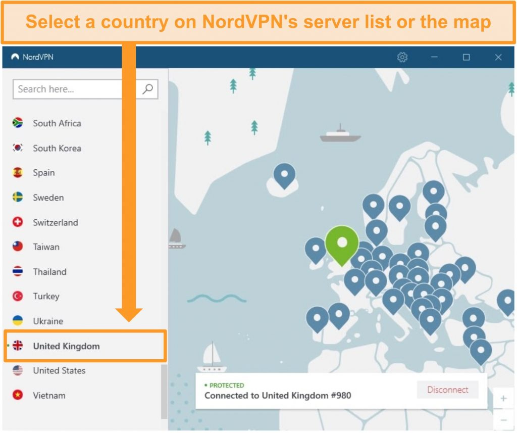 Screenshot of NordVPN connected to a UK server.