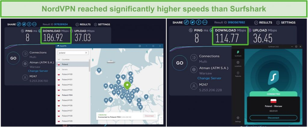 Screenshot of NordVPN and Surfshark running a multi-connection speed test.