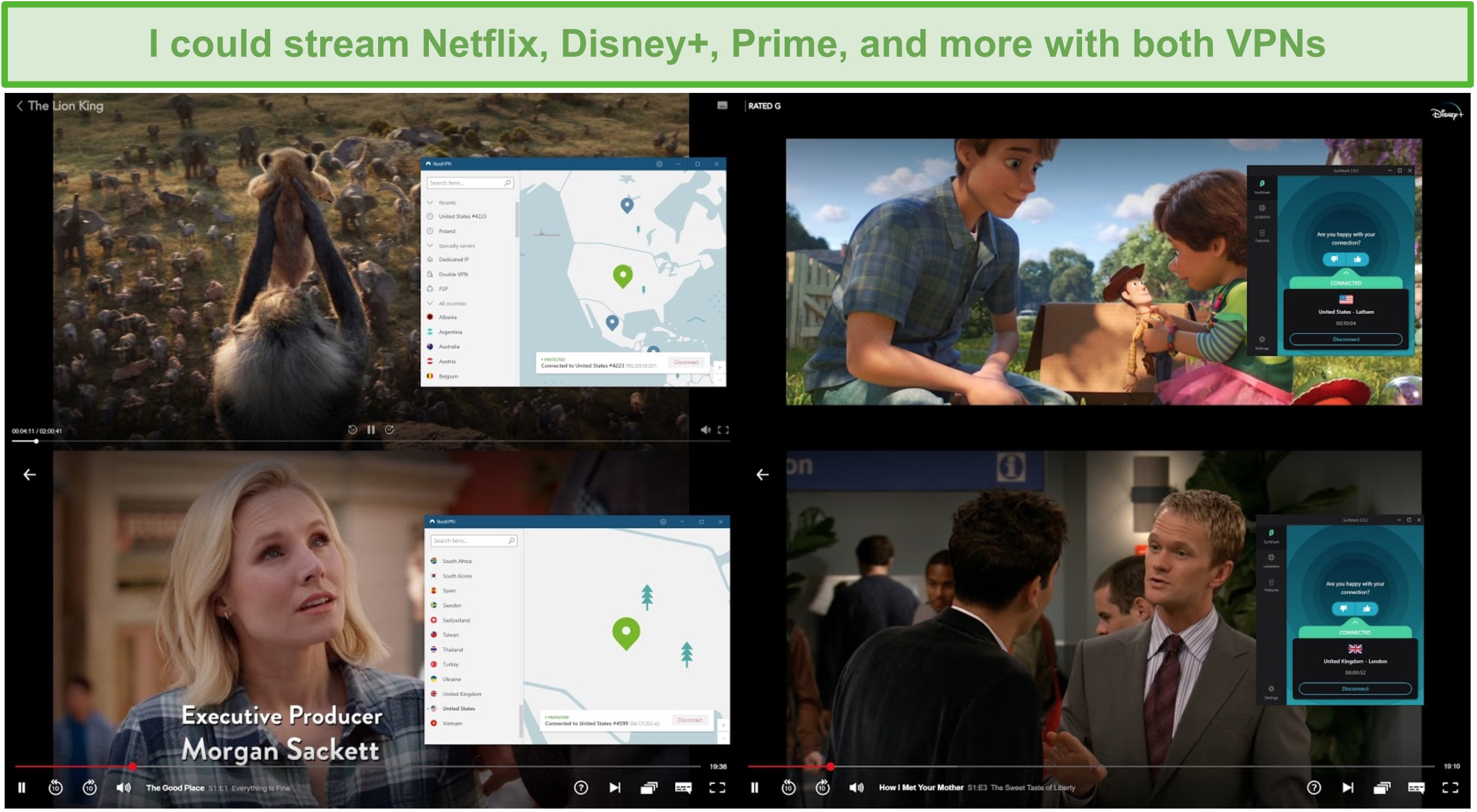 Screenshot of NordVPN and Surfshark unblocking various TV shows and movies on Netflix and Disney+.