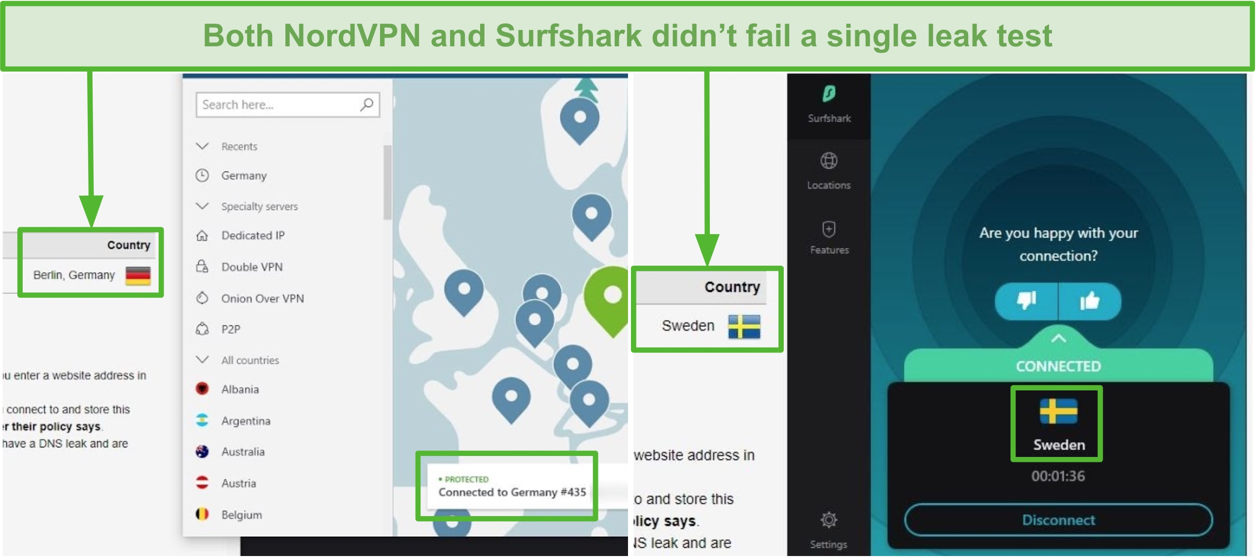 Screenshot of NordVPN passing a leak test connected to a German server, and Surfshark passing a leak test connected to a Swedish server.