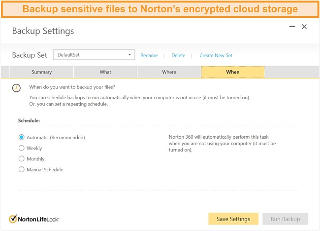 Screenshot of Norton 360's cloud storage options and backup frequency selection.