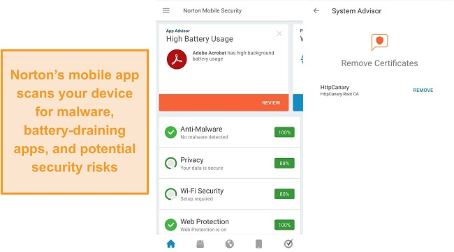 Screenshot of the Norton Mobile security app.
