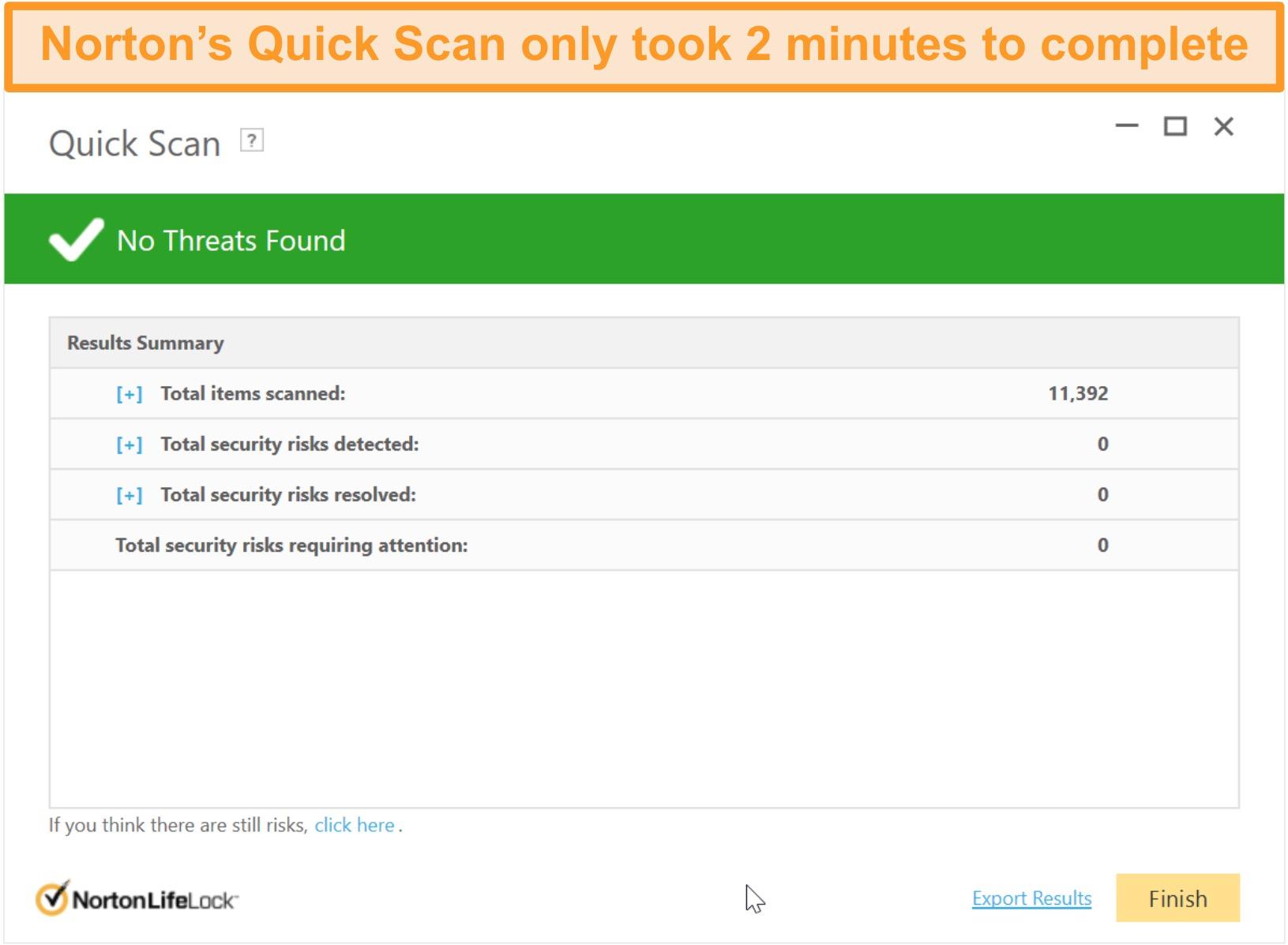 Norton 360's quick scan result