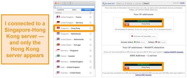 Screenshot of Surfshark's MultiHop server (double VPN) for Singapore and Hong Kong, alongside leak test results showing just the Hong Kong server visible