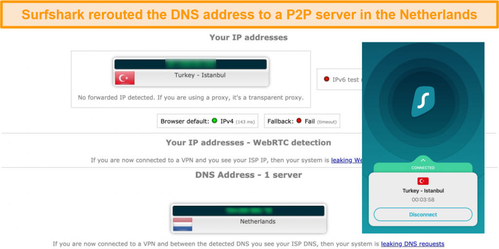Screenshot of leak test results with Surfshark connected to a server in Turkey and DNS server in the Netherlands
