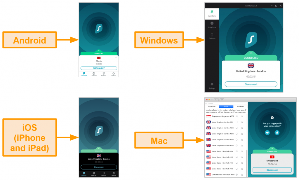 Screenshots of Surfshark's interface on 4 different devices