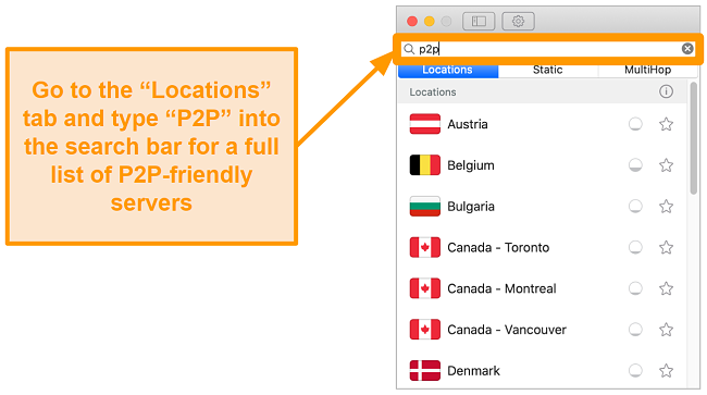 Screenshot of Surfshark's P2P servers on the Mac app