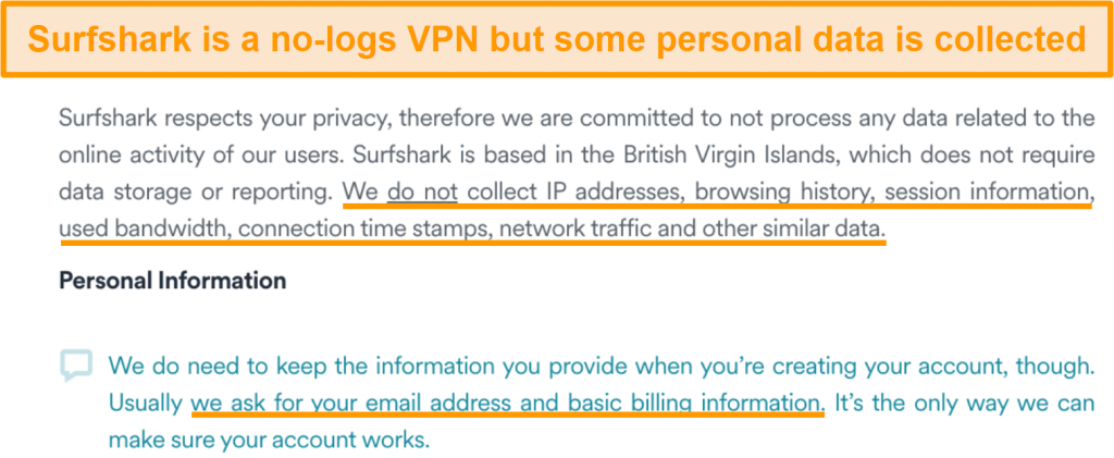 Screenshot of Surfshark's privacy policy