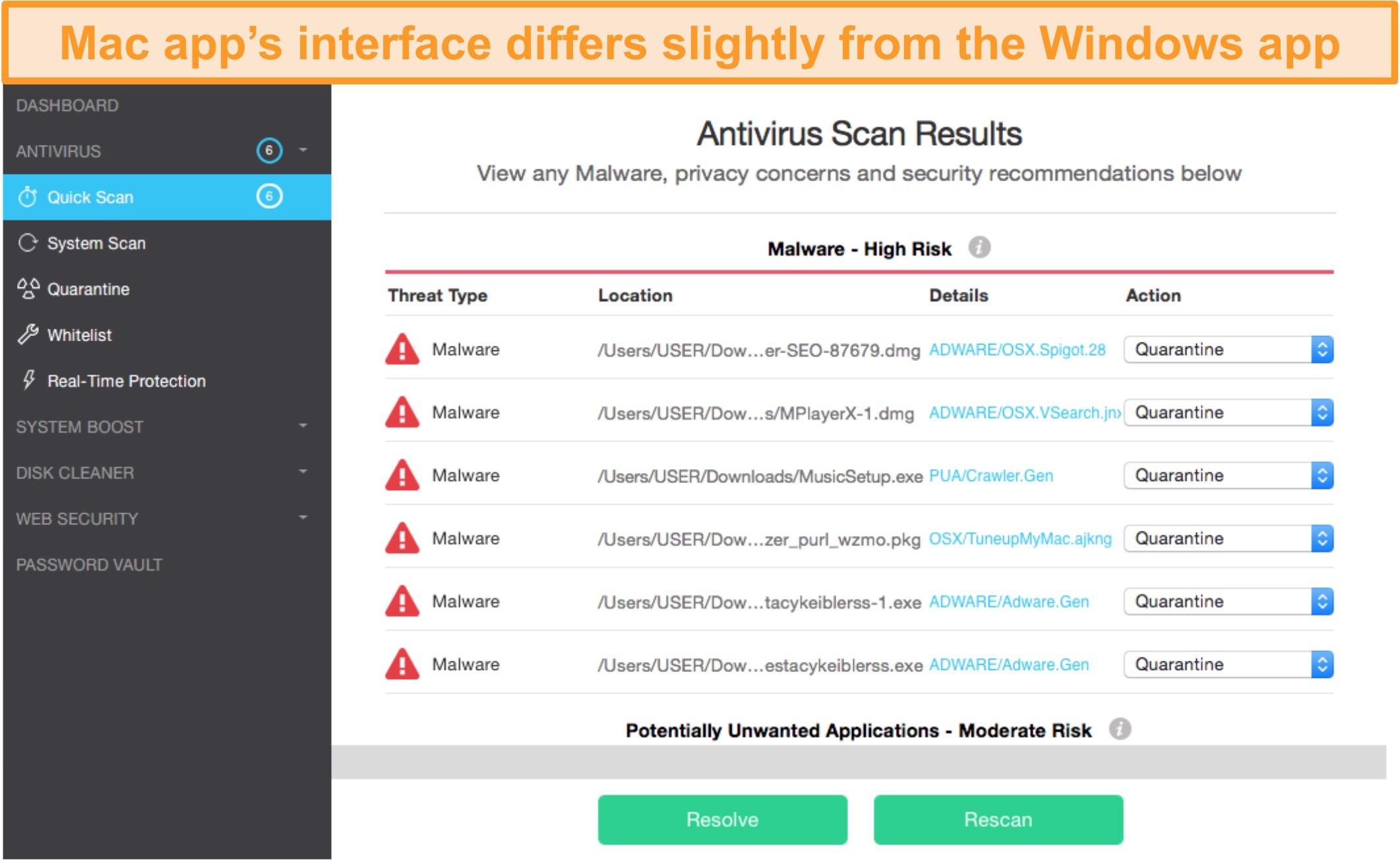 Screenshot of TotalAV's app homepage on Mac