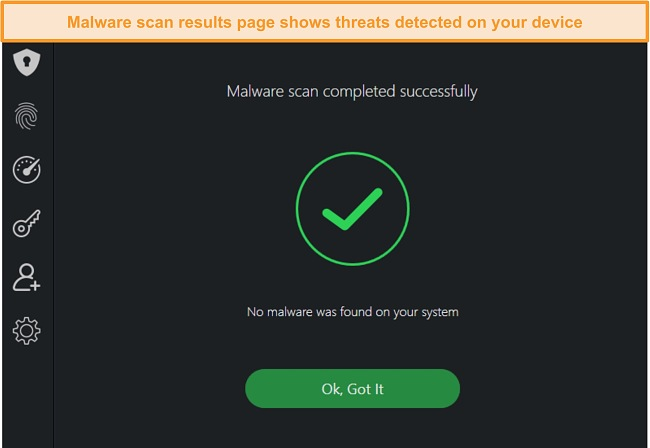 Screenshot of TotalAV's virus scan results